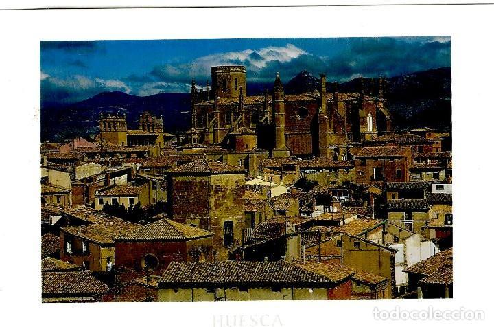 HUESCA - CASCO VIEJO Y CATEDRAL - ED. PIRINEO Nº 14 - GRAN FORMATO 171X120 MM - INÉDITA EN TODOCOLEC (Postales - España - Aragón Moderna (desde 1.940))