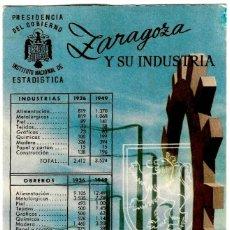 Postales: ZARAGOZA Y SU INDUSTRIA - INSTITUTO NACIONAL DE ESTADÍSTICA - ILUSTRADOR: A.L. PADIAL - 154X100 MM.. Lote 279517498
