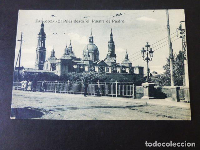 ZARAGOZA EL PILAR DESDE EL PUENTE DE PIEDRA (Postales - España - Aragón Antigua (hasta 1939))