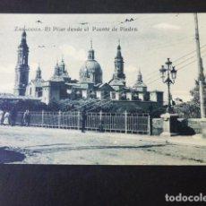 Postales: ZARAGOZA EL PILAR DESDE EL PUENTE DE PIEDRA. Lote 285239823