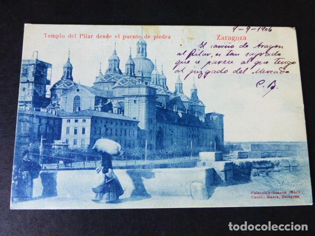 ZARAGOZA TEMPLO DEL PILAR DESDE EL PUENTE DE PIEDRA (Postales - España - Aragón Antigua (hasta 1939))