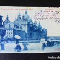Postales: ZARAGOZA TEMPLO DEL PILAR DESDE EL PUENTE DE PIEDRA. Lote 286485693