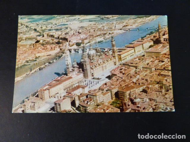 ZARAGOZA EL PILAR Y RIO EBRO VISTA AEREA IBERIA (Postales - España - Aragón Antigua (hasta 1939))