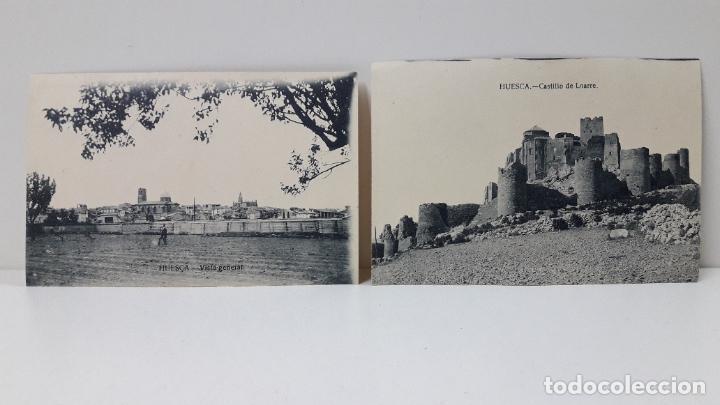 DOS TARJETAS POSTALES . HUESCA VISTA GENERAL - CASTILLO LOARRE . SIN CIRCULAR (Postales - España - Aragón Antigua (hasta 1939))