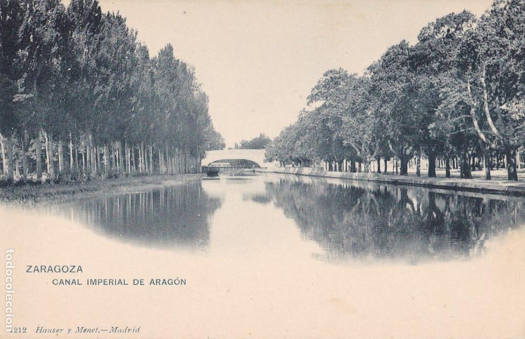 ZARAGOZA, CANAL IMPERIAL DE ARAGON. ED. HAUSER Y MENET Nº 1212. REVERSO SIN DIVIDIR (Postales - España - Aragón Antigua (hasta 1939))