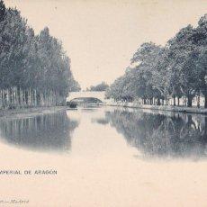 Postales: ZARAGOZA, CANAL IMPERIAL DE ARAGON. ED. HAUSER Y MENET Nº 1212. REVERSO SIN DIVIDIR. Lote 288041588