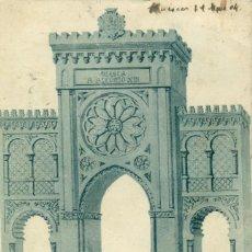 Postales: HUESCA. ARCO DE TRIUNFO. VISITA DE ALFONSO XIII.CIRCULADA EN 1904.MUY RARA.. Lote 291204788