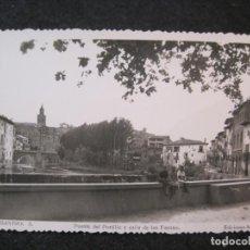 Postales: BARBASTRO-PUENTE DEL PORTILLO Y CALLE DE LAS FUENTES-FOTOGRAFICA ARRIBAS-POSTAL ANTIGUA-(85.130). Lote 294965583