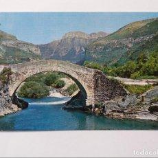 Postales: POSTAL - PIRINEO ARAGONES - TORLA - PUENTE ROMANO SOBRE EL RIO ARA. Lote 295644573