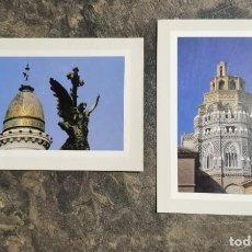 Postales: ZARAGOZA 2 POSTALES DE PLAZA ESPAÑA Y TORRE DE LA BASÍLICA DE LA SEO DELMONTE POSTALES. Lote 295987428