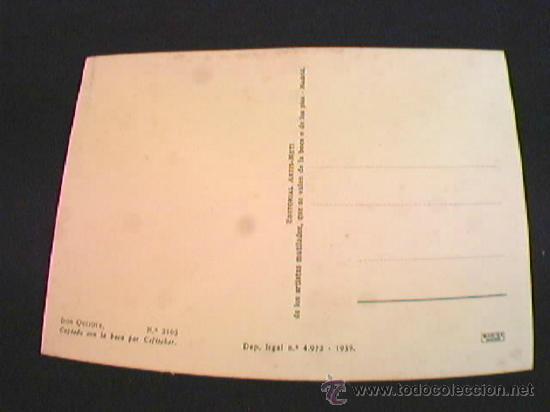 Postales: DON QUIJOTE. EDITORIAL ARTIS-MUTI. PINTADO CON LA BOCA. AÑO 1959. Nº 2105. - Foto 2 - 10481833