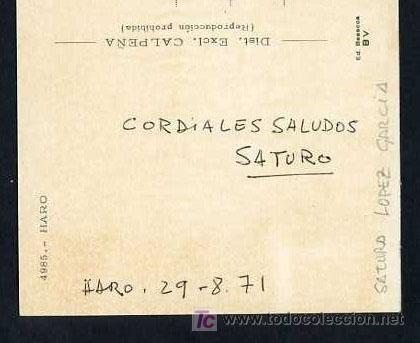 Postales: *Saturo López Garcia* TP autógrafa dirigida al pintor Joaquin Sabaté i Nadal. Circulada 1971. - Foto 2 - 11824438