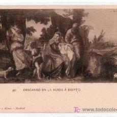 Postales: TARJETA POSTAL. DESCANSO EN LA HUIDA A EGIPTO DE TIZIANO. 1875 HAUSER Y MENET. Lote 12903216
