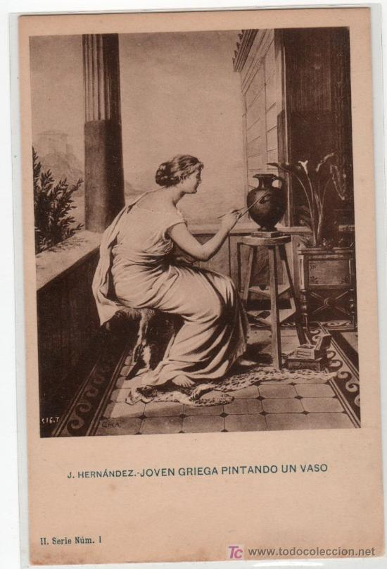 TARJETA POSTAL DE J. HERNANDEZ. JOVEN GRIEGA PINTANDO UN VASO. SERIE II Nº 1 (Postales - Postales Temáticas - Arte)
