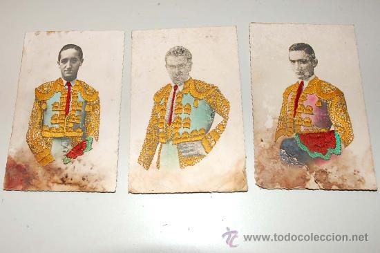 LOTE 3 POSTALES TOREROS, JULIO APARICIO, J. MARIA MARTORELL, PARRITA. (Postales - Postales Temáticas - Arte)