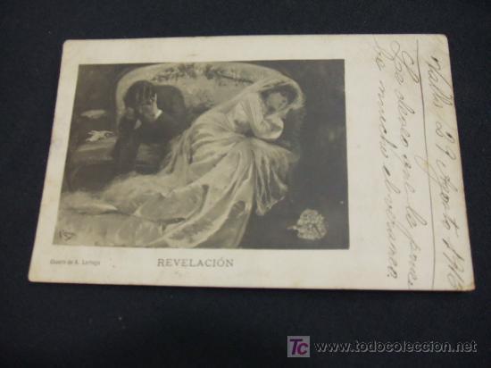 TARJETA POSTAL ANTIGUA - AÑO 1.916 - REVELACION - CUADRO DE A. LARRAGA - (Postales - Postales Temáticas - Arte)