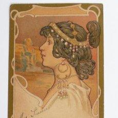 Postales: POSTAL BUSTO FEMENINO MODERNISTA, CIRCULADA 1906. . Lote 19028174