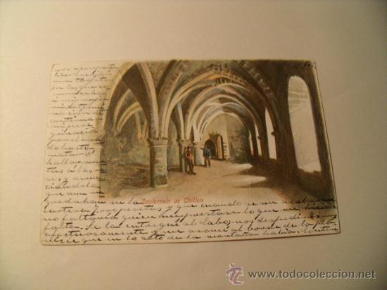 POSTAL SUIZA, CARCEL DE CHILLON . ESCRITA EN ESPAÑOL SELLO ALFONSO XIII. CIRCULADA 1904. POSTAL 987 (Postales - Postales Temáticas - Arte)