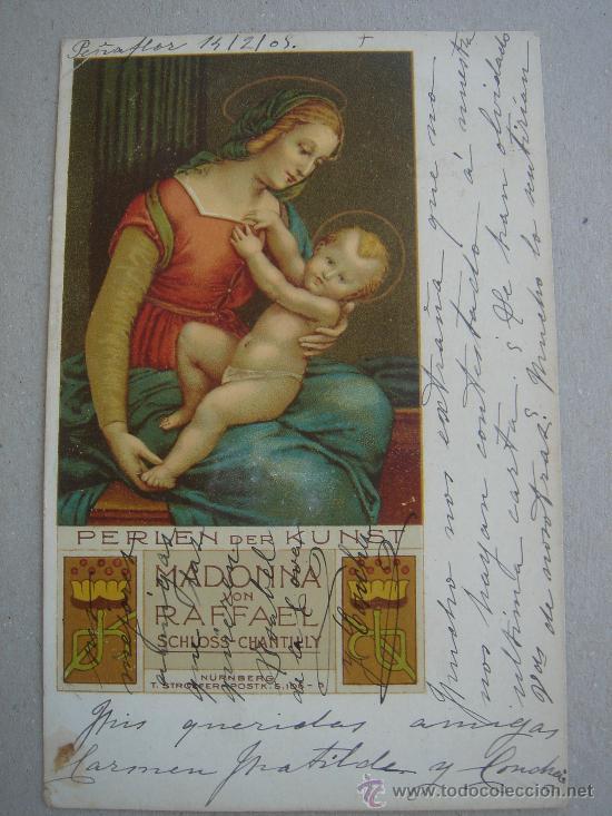 MADONNA VON RAFFAEL. CIRCULADA, ESCRITA Y CON SELLO DE 10 CTS DE ALFONSO XII (14-II-1905) (Postales - Postales Temáticas - Arte)