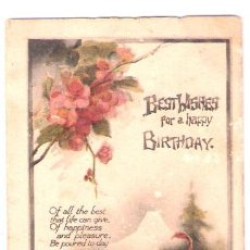 Postales: TARJETA POSTAL DE RAPHAEL TUCK & SONS. COLORED CRAYON. POSTCARD 1623. BESTWISHES FOR HAPPY BIRTHDAY.. Lote 26341359