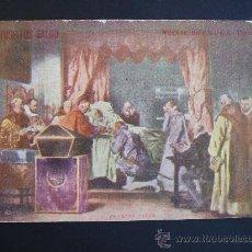 "Postales: ""MUERTE DE FELIPE II-CASANOVAS"". PUBLICITARIA, CON SELLO 1/4 CTS PTA. FINAL S.XIX. Lote 27093975"