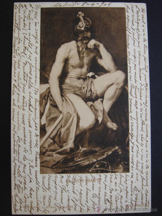 """""""EL DIOS MARTE. VELÁZQUEZ"""". CIRCULADA, ESCRITA Y CON SELLO 10 CTS DE ALFONSO XIII (5-IV-06) (Postales - Postales Temáticas - Arte)"""