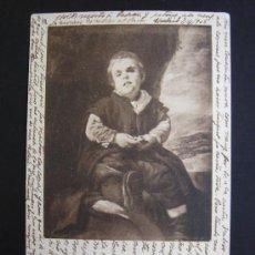 """Postales: """"EL BOBO DE CORIA. VELÁZQUEZ"""". CIRCULADA, ESCRITA Y CON SELLO 10 CTS DE ALFONSO XIII (7-IV-05). Lote 27172550"""