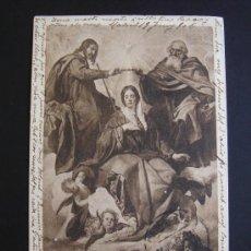 """Postales: """"LA CORONACIÓN DE LA VIRGEN. VELÁZQUEZ"""". CIRCULADA, ESCRITA Y SELLO 10 CTS ALFONSO XIII (19-VI-06). Lote 27180234"""