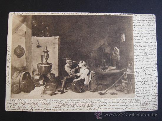 """""""LA GRACIOSA FREGATIZ. TENIERS"""". CIRCULADA, ESCRITA Y CON SELLO 10 CTS DE ALFONSO XIII (7-V-06) (Postales - Postales Temáticas - Arte)"""