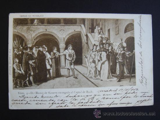 Postales: OBRAS DE ROSALES. CIRCULADA, ESCRITA Y CON SELLO DE 10 CTS DE ALFONSO XIII (17-X-02) - Foto 1 - 27235413