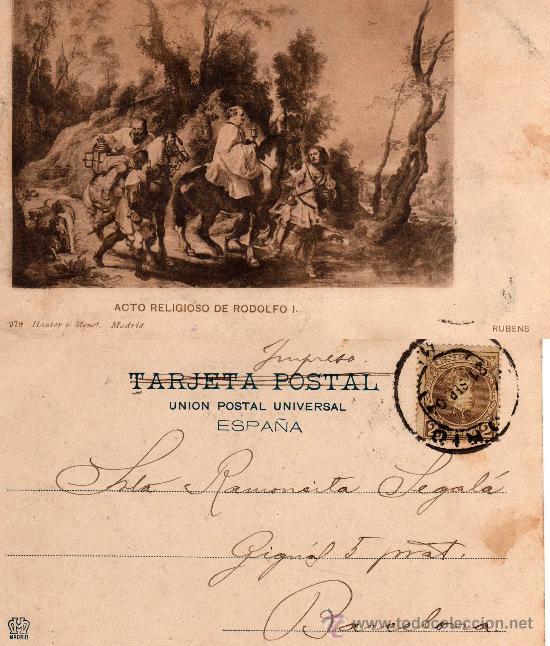 ACTO RELIGIOSO DE RODOLFO I, RUBENS, 979 HAUSER Y MENET -MADRID-, CIRCULADA AÑO 1904 (Postales - Postales Temáticas - Arte)