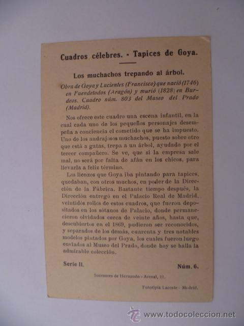 Postales: Cuadros Célebres; Los muchachos trepando al arbol, El Pelele, serie II, nº6 - Foto 2 - 31150087