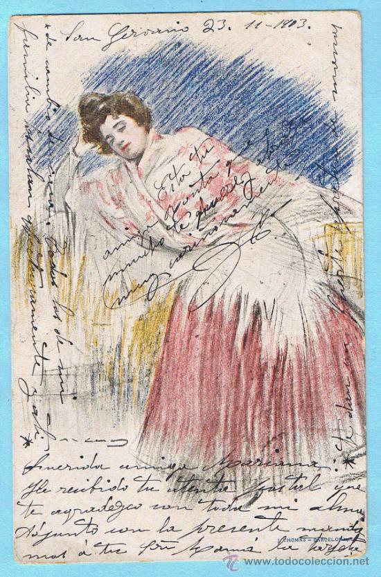 MANOLA. RAMON CASAS. J THOMAS - BARCELONA. CIRCULADA, 1903 (Postales - Postales Temáticas - Arte)