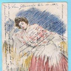 Postales: MANOLA. RAMON CASAS. J THOMAS - BARCELONA. CIRCULADA, 1903. Lote 33330269