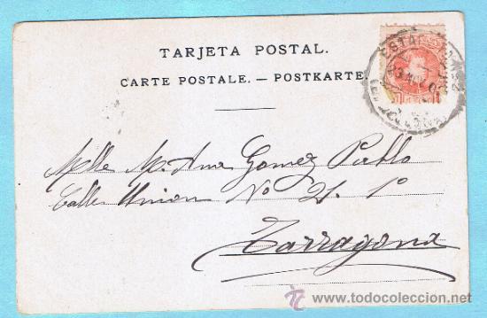 Postales: MANOLA. RAMON CASAS. J THOMAS - BARCELONA. CIRCULADA, 1903 - Foto 2 - 33330269