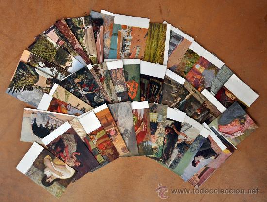 GRAN LOTE DE 45 POSTALES DE ARTE A FLOR DE CUÑO. JOAQUIM MIR, PLA Y RUBIO, FORTUNY, MIRALLES, ETC.. (Postales - Postales Temáticas - Arte)