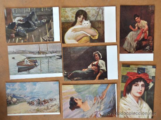 Postales: GRAN LOTE DE 45 POSTALES DE ARTE A FLOR DE CUÑO. JOAQUIM MIR, PLA Y RUBIO, FORTUNY, MIRALLES, ETC.. - Foto 2 - 34352559
