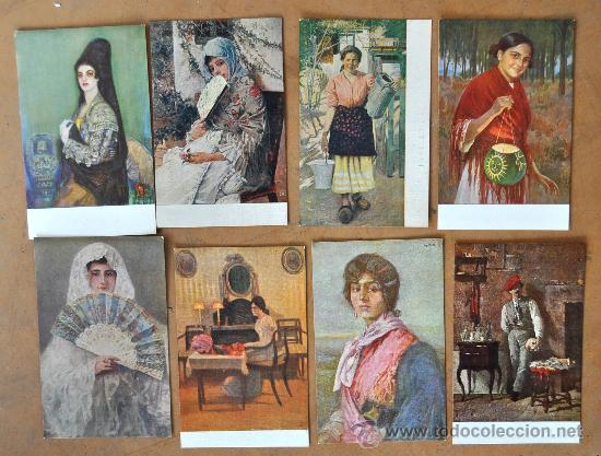Postales: GRAN LOTE DE 45 POSTALES DE ARTE A FLOR DE CUÑO. JOAQUIM MIR, PLA Y RUBIO, FORTUNY, MIRALLES, ETC.. - Foto 5 - 34352559