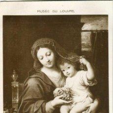Postales: POSTAL 'LA VIERGE A LA GRAPPE' DE UN CUADRO DE P. MIGNARD. MUSEO DEL LOUVRE. Nº 4872. Lote 37645221