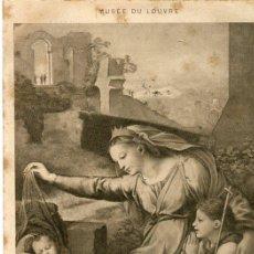 Postales: POSTAL 'LA VIERGE AU VOILE' DE RAFAEL. MUSEO DEL LOUVRE. Nº11497. Lote 37645458