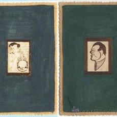 Postales: PAR DE T.P. ESPAÑOLAS ELABORADAS A MANO CON PEQUEÑAS CARICATURAS. NUEVAS.. Lote 38420122