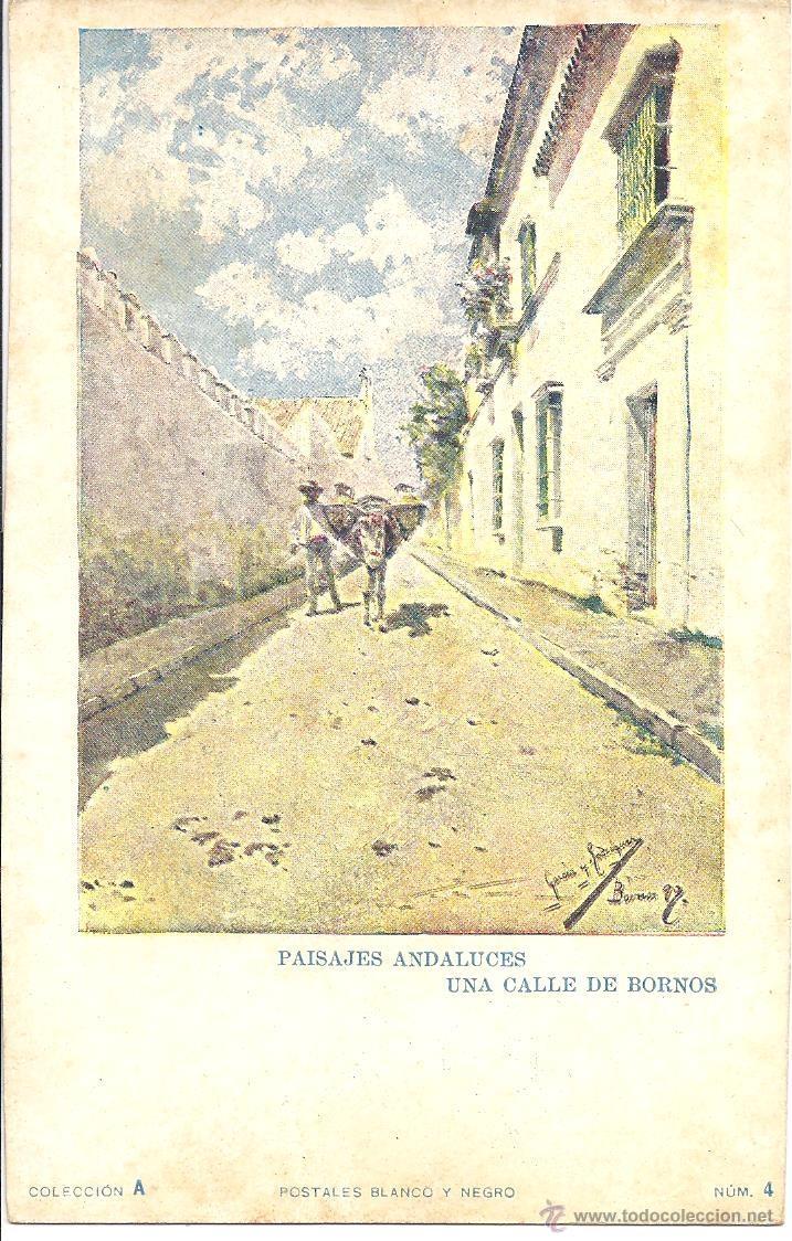 PS1385 PAISAJES ANDALUCES 'UNA CALLE DE BORNOS'. POSTALES BLANCO Y NEGRO. SIN CIRCULAR (Postales - Postales Temáticas - Arte)