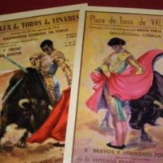 Postales: 2 POSTALES TOROS - LINARES AGOSTO 1947 Y VALENCIA 27 DE JULIO - Nº 6 CHICUELINA Y Nº 8 PASE NATURAL. Lote 40489661