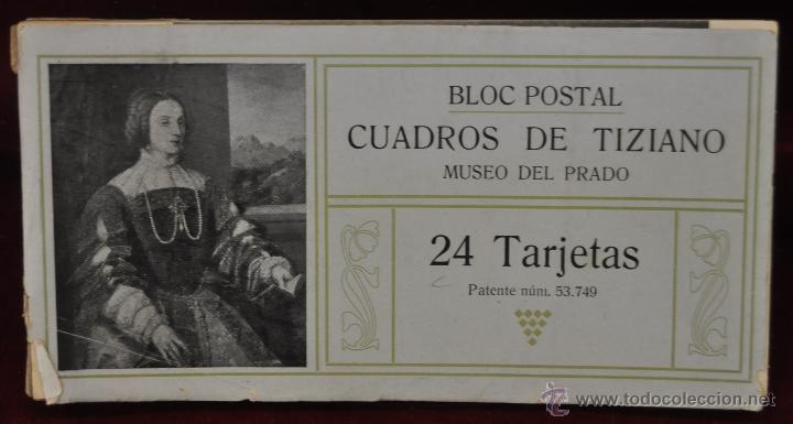 ALBUM DE ANTIGUAS POSTALES CUADROS DE TIZIANO. MUSEO DEL PRADO. FOT. LACOSTE. 24 TARJETAS (Postales - Postales Temáticas - Arte)