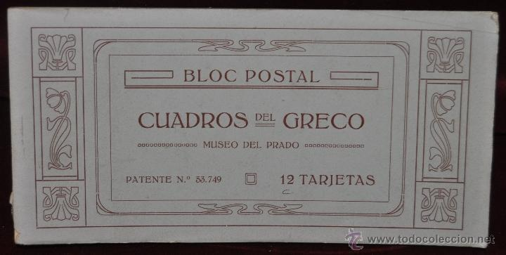ALBUM DE ANTIGUAS POSTALES CUADROS DEL GRECO. MUSEO DEL PRADO. FOT. LACOSTE. 12 TARJETAS (Postales - Postales Temáticas - Arte)