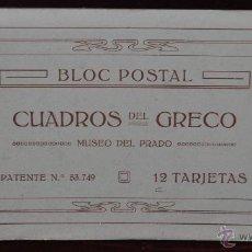 Postales: ALBUM DE ANTIGUAS POSTALES CUADROS DEL GRECO. MUSEO DEL PRADO. FOT. LACOSTE. 12 TARJETAS. Lote 41333302