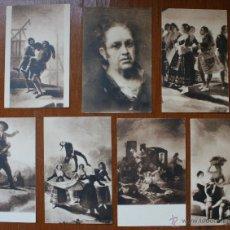 Postales: INTERESANTA COLECCION DE 7 TARJETAS POSTALES FOTOTIPIA CON OBRAS DE GOYA EN EL MUSEO DEL PRADO. Lote 42220786