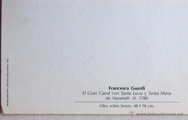 Postales: POSTAL DEL CUADRO EL GRAN CANAL DE FRANCHESCO GUARDI. - Foto 3 - 44247929