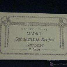 Postales: ACORDEÓN CUADERNO CARNET POSTAL MADRID CABALLERIZAS REALES CARROZAS 12 VISTAS . Lote 44445343