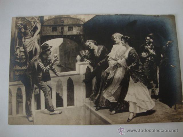 ANTIGUA POSTAL ORIGINAL ESCENA CON ABANICO S.XIX. AÑOS 30/40. LOTCRE250 (Postales - Postales Temáticas - Arte)